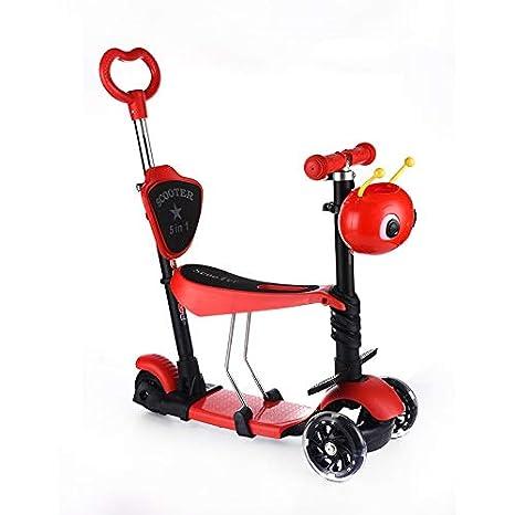 Mishuai Scooter de Tres Ruedas para niños con Patines resbaladizos Patinadores de Cinco Ruedas para niños
