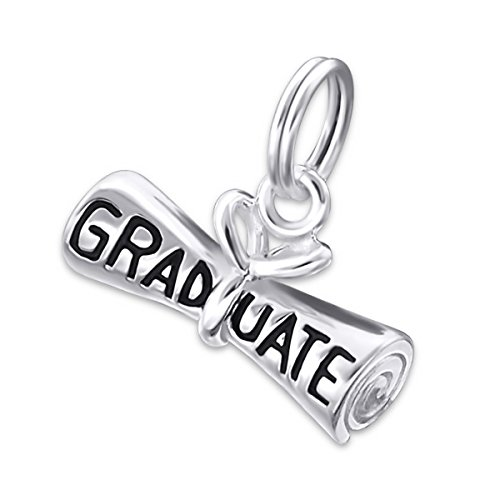 Pro Jewelry .925 Sterling Silver Dangling ''Graduate Diploma'' Split Ring Top Pendant Charm for Bracelet or Necklace ECH Jb 1922