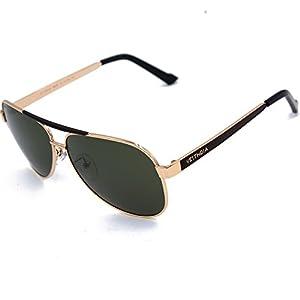 VEITHDIA 3152 High Grade Classic Polarized Aviator Sunglasses 100 UV Protection (Golden)