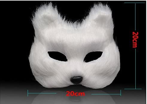 Cosplay Party Furry Faux Fur Animal Fox Mask Half Face Accessory Masquerade Mask