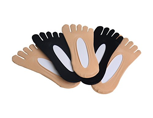 Byinwin Toe Socks, 5 Pairs Women Five Socks NO Show Cotton Liner socks, Microfiber Ultra Low Cut Liner with Gel Tab