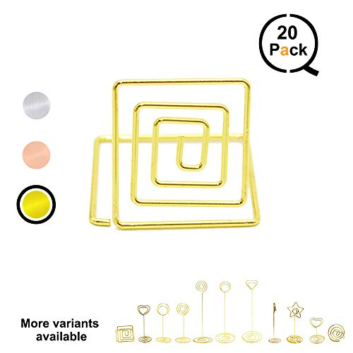 QLLY Wire Shape Place Card Holder Stands, Table Name Number Holders, Paper Menu Picture Memo Note Photo Clip Holder Food Signs for Weddings, Dinner, Parties(20 Pack) (Gold)