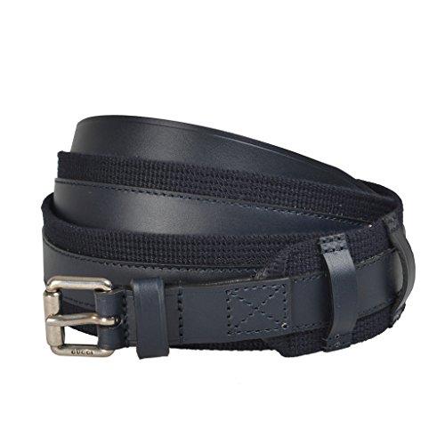 Gucci Canvas Belt (Gucci Men's Deep Blue Canvas Leather Belt US 44 IT)