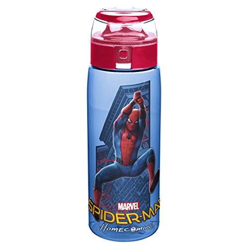 Spider Man Water Bottle - Zak! Designs Tritan Water Bottle with Flip Top Cap, Spiderman Homecoming, BPA-Free and Break Resistant Plastic, 25 oz.