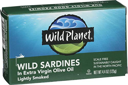 Wild Planet Wild Sardines in Extra Virgin Olive Oil, Lightly Smoked, Keto and Paleo, 4.4 Ounce (Pack of 12)