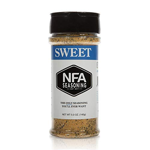 Sweet NFA Seasoning Blend - Sweet With a Kick, Gluten Free - No MSG, Low Sodium - All-Purpose Seasoning Spice BBQ Rub, Use on Chicken, Eggs, Pork, Vegetables, Fish, Popcorn - 5oz