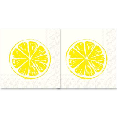 Boston International Lemon Sunshine Yellow 5 x 5 Non-Toxic Paper Cocktail Napkins 2 Packs of 20