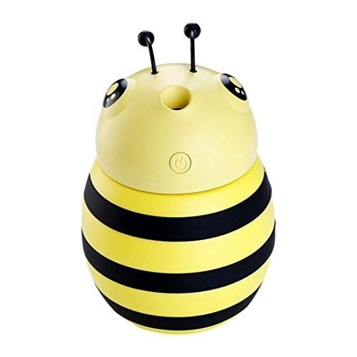 (XILALU USB Humidifier Atomizer, Mini Size Cute Bee LED Lamp Air Diffuser Purifier For Bedroom Home Office Car,Long Spray For 12 Hours,300ml (Yellow))
