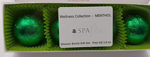 SPAPURE Wellness Collection MENTHOL EUCALYPTUS - (4-pack) Aromatherapy Fizzing Shower Bombs by Spa Pure