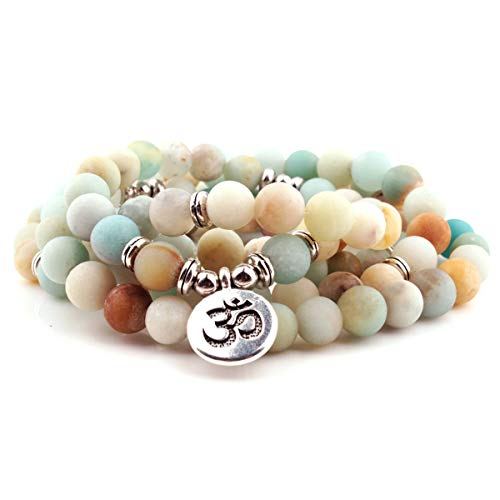 (GVUSMIL 108 Mala Prayer Beads Matte Amazonite Wrap Bracelet OM Pendant Necklace for Meditation Rosary Yoga Healing)