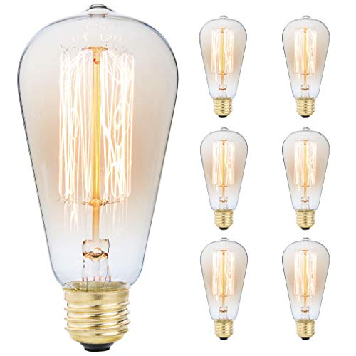 6-Pack Edison Light Bulb, Antique Vintage Style Light, Amber Warm, Dimmable (60w/110v) ()