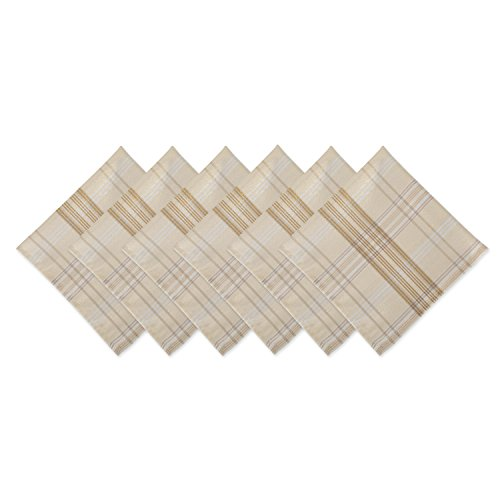 DII CAMZ10898 Oversized 20x20 Metallic Napkins, Perfect for Dinner Parties, Christmas, Holidays, or Everyday use, Pack of 6, Cream Plaid 6 Pack