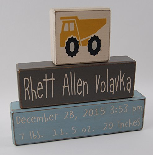 Dump Truck Birth Stats Announcement Primitive Country Wood Stacking Sign Blocks- Custom Personalized Name and Birth Stats-Baby Gift-Birth Announcement-Baby-Boys/Girls Nursery Room Decor