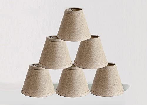 Urbanest Pure Linen Chandelier Lamp Shades, 6-inch, Hardback Clip On, Oatmeal Set of 6