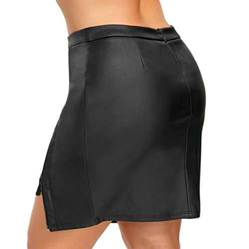 Amazon.com: ShiTou Skirt, Women and Girls Zipper Sexy Leather Skirt: Clothing