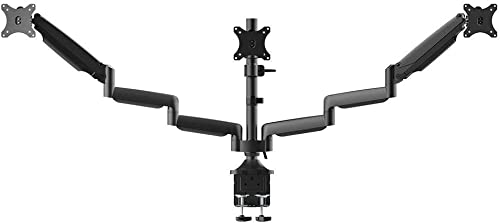 Monoprice 129406 Triple Monitor Gas Spring Mount for up to 32 Screens, Locking Center Mount high-Strength Steel and Aluminum Structural Components – Workstream Collection, Black