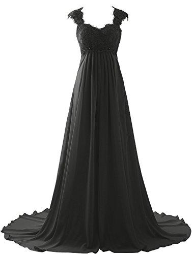 Erosebridal 2018 Elegant Lace Chiffon Prom Dress Gowns Second Wedding Dress for Women Size 24w Black