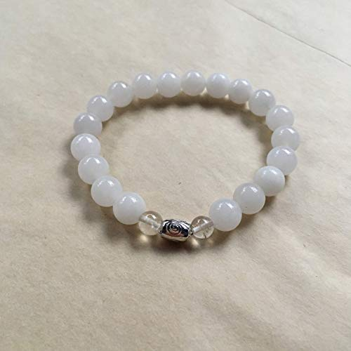 White Jade Bracelet with Rutilated Quartz Stone for Protection, Inner Peace and Reiki Energy