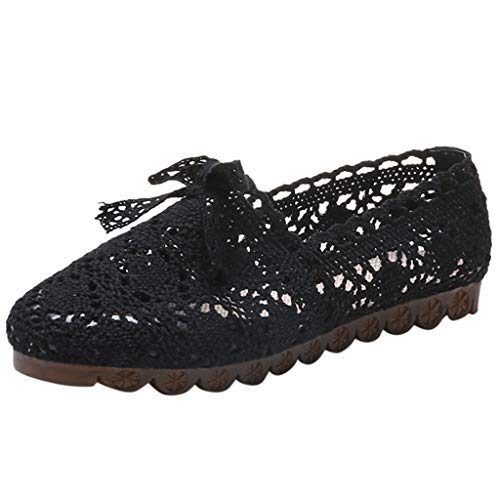 (Goddessvan Women's Fashion Solid Flat Shoes Hollow Out Embroidery Comfortable Versatile Shoes Black)