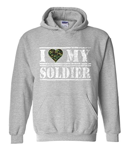 Xekia I Love My Soldier US Army People Army Wives Army Men Couples Gifts Unisex Hoodie Sweatshirt X-Large Sport Grey