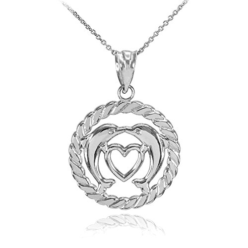 10k White Gold Roped Circle Open Heart with Kissing Dolphin Pendant Necklace, 20