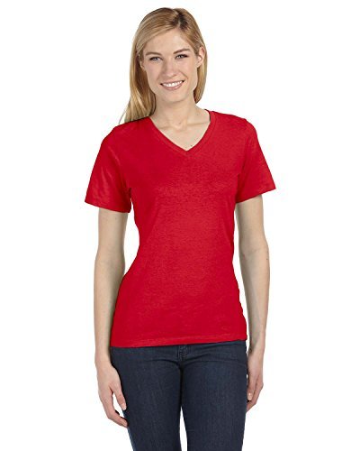 Coast V-neck Jersey - Bella 6405 Womens Relaxed Jersey Short Sleeve V-Neck Tee - Red, Large