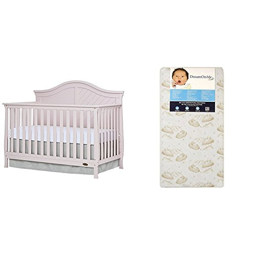 Dream On Me Kaylin 5 in 1 Convertible Crib, Blush Pink with Dream On Me Spring Crib and Toddler Bed Mattress, Twilight