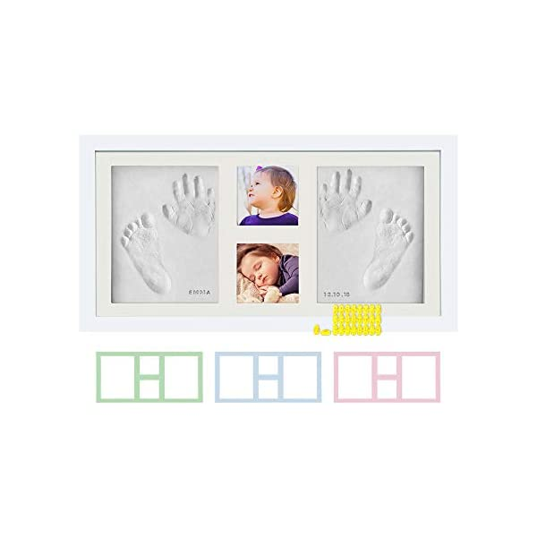 Baby Hand & Footprint Photo Frame Kit – for Baby Girls & Boys, Personalized Gift for Showers, Registries & More, White Frame, by Kubai