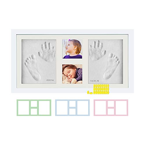 Baby Hand & Footprint Photo Frame Kit - for Baby Girls & Boys, Personalized Gift for Showers, Registries & More, White Frame, by Kubai