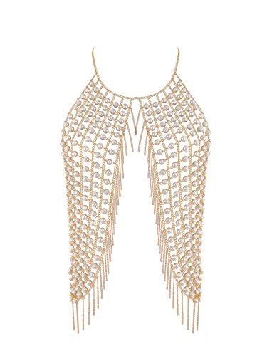 Ingemark Sexy Harness Waist Bikini Chain Bra Body Chain Shoulder Necklace for Women Gold Silver Sequin (Pearl Body Chain)