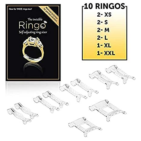 b64f53feb Amazon.com: Ringo Self Adjusting Ring Size Adjuster: Multi Sizes 10-Pack of  Invisible Flexible Transparent Ring Sizer, Spacer, to Resize Too Big Rings.