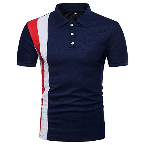 Fxbar,Men's Golf Shirt Wrinkle-Free Easy Care Tee Tops Casual Business Pullover(Navy,XL)