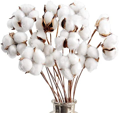 Kraftex Cotton Stems Farmhouse Decorations (20 Pack) Cotton Decor Floral Stems & Artificial Branches. Faux Cotton Flowers Plant Twigs Stalks with Real & Natural Effect for Vases