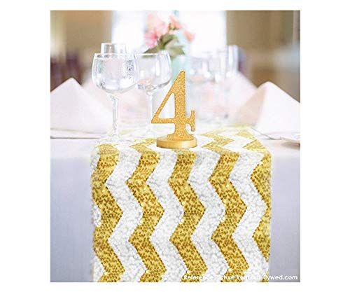 14''108'' Gold and White Chevron Sequin Table Runner Wedding Table Runner - Luxury Sequin Table Runner! Premium Sequin Wedding Table Runners-m1101