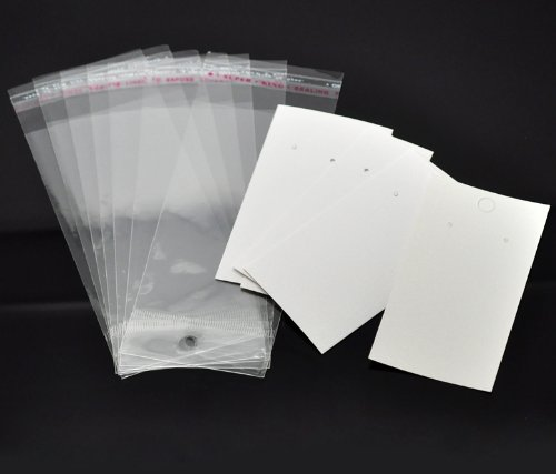 Paper & Plastic Jewelry Earrings Display Cards Rectangle White W/ Self-Seal Bags - Blank For You to Customize - 100 Sets