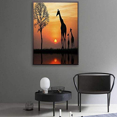 Africa Canvas Prints Giraffes on Bushes by The Lake Surface Horizon in The Middle of Nowhere Image Art Canvas 28