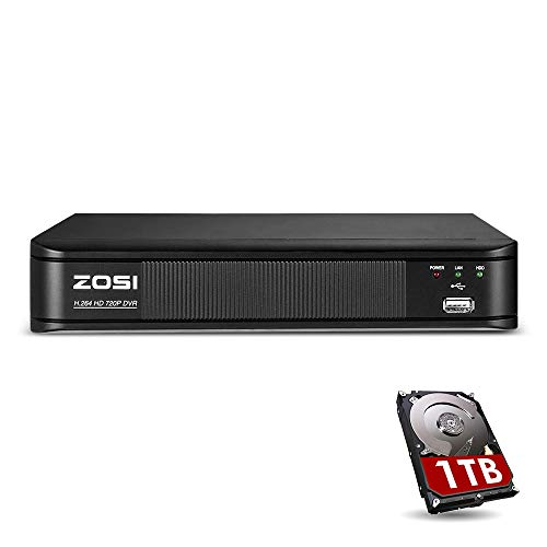ZOSI 720p 8 Channel HD-TVI 1080P Lite 4 in 1 Video Surveillance DVR Recorder with Hard Drive Built-in, P2P Technology, QR Code Scan Remote Access,Motion Detection 4 Channel Hard Drive Tv