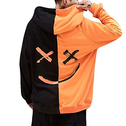 Forthery Mens Pullover Hoodies Smiling Face Fashion Fleece Hooded Sweatshirt Jacket(Orange,XX-Large)