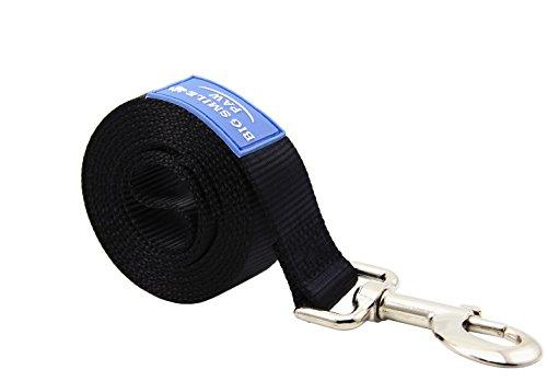BIG SMILE PET Dog Leash Nylon Durable Loop handle,5 Foot Long 1 Inch Wide (Black)