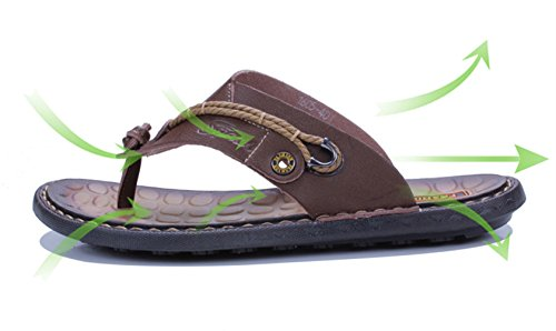 Icegrey Leather Flip Flop Men Summer Beach Slippers Brown RNgCbIRn