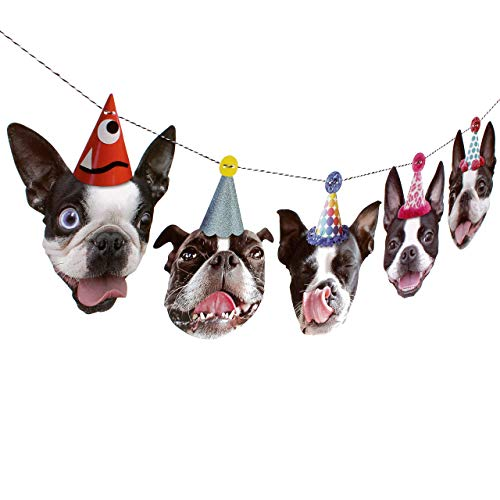 (Boston Terrier Garland - dog birthday party decoration)