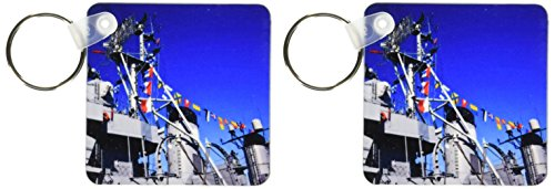 3dRose MA, Boston. Tall ships, Charlestown Navy Yard WWII - US22 WBI0753 - Walter Bibikow - Key Chains, 2.25 x 4.5 inches, set of 2 (kc_91043_1) ()