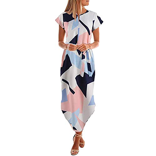 (UOFOCO Summer Dress for Women Maxi Dress Casual Short Sleeve V Neck Printed with Belt Blue)