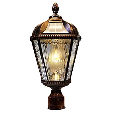 "GAMA SONIC Royal Bulb Solar Light, GS Bulb, 3"" Post Fitter Mount, Brushed Bronze GS-98B-F"