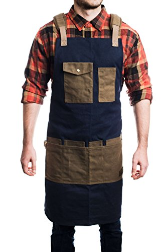 Double Front Canvas Carpenter Jean (Braunhäuser Premium Waxed Canvas Work and Shop Apron - Adjustable to XXL, Includes Safety Pocket, 4 Tool Pockets with Debris Protectors, Padded Shoulder Straps, and Entry Assist - For Men and Women)