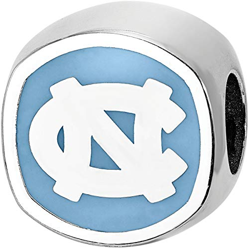 (LogoArt Sterling Silver North Carolina Tar Heels ENAMELED Bead)