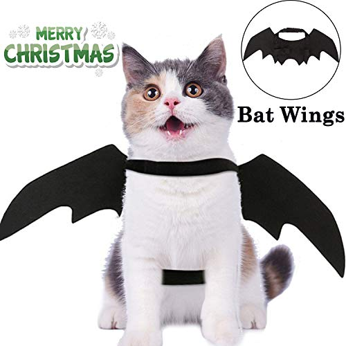 Christmas Costumes Pet Bat Wings for Cats Dogs Christmas Decorations Kitten Cosplay Cat Toys Xmas Party SuppliesPuppy Small Medium Clothes Pet Bat Costume Black Vampire Wings Outfit Apparel Set ()