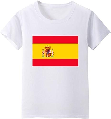 Daqin Bandera Española Hombres Y Mujeres De Manga Corta Clase De Desgaste De Los Niños Escuela Primaria Rendimiento del Estudiante Camiseta Camiseta Ropa Verano (Color : Blanco, Tamaño : 165cm): Amazon.es: Deportes