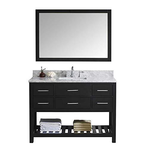 - Virtu USA Caroline Estate 48 inch Single Sink Bathroom Vanity Set in Espresso w/Square Undermount Sink, Italian Carrara White Marble Countertop, No Faucet, 1 Mirror - MS-2248-WMSQ-ES