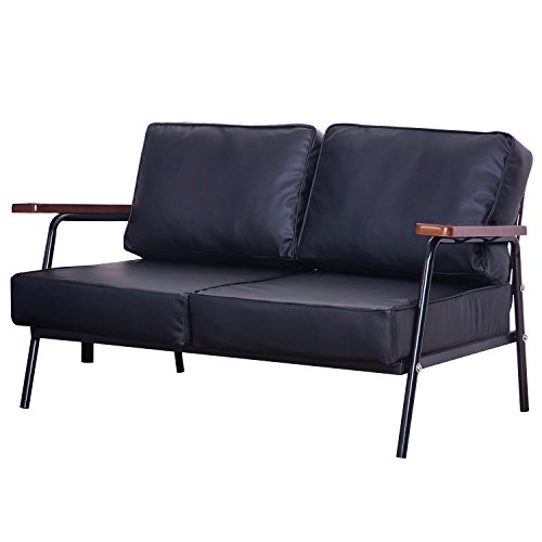 Merax Vigo Sofa Loveseat Pu Leather Upholstered with Metal Frame Lounge Sofa (Black) (Black Futon Frame compare prices)